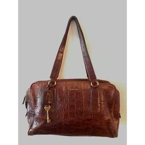 Leather croc satchel